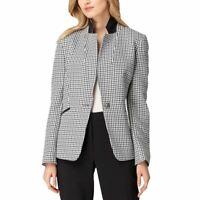 TAHARI ASL NEW Women's Navy/white Textured One-button Blazer Jacket Top 6 TEDO