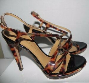 Casadei Pellame Lame Varnished Leopard Print Brown Open Toe Strappy Heel Shoes 9