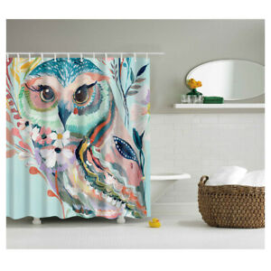 Fabric Owl Printing Bath Shower Curtain w/ 12 Hooks Fabric Hanging Panel 71''