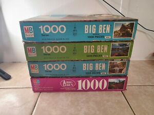 MB Big Ben 1000 Piece Jigsaw Puzzle Vintage 1970s lot of 4