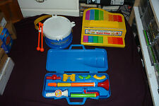 Vintage Fisher Price Musical Instrument Lot Grand Piano Marching Band Horn Kit
