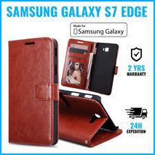 Wallet Flip Case Cover Cas Coque Etui Hoesje Brown For Samsung Galaxy S7 Edge
