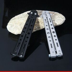 Butterfly Balisong Training Comb Folding Knife Tool Metal Stainless Steel Black