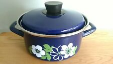 Vintage Enamel Flower Detail Lidded Stock Pot