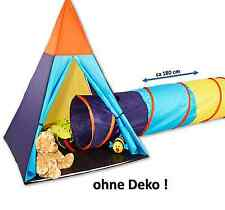Kinder INDIANERZELT + TUNNEL, Zelt 150 cm Tipi Wigwam Spielzelt 18 Monate yx D2
