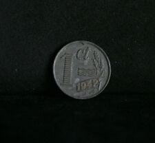 1942 Netherlands 1 Cent Zinc World Coin KM170 Wilhelmina I Cross Dutch