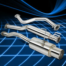 4''ROLL MUFFLER TIP+SILENCER CATBACK EXHAUST SYSTEM FOR 01-05 CIVIC EX 1.7L/I4