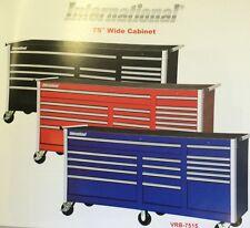 "International Tool Box  75"" Wide Cabinet Red, Black, Blue"