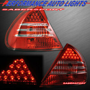 Set of Pair Red Clear LED Taillights for 1999-2002 Mitsubishi Mirage Sedan Coupe
