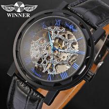 Ganador ESQUELETO Azul Números Romanos Acero Inoxidable Reloj De Cuero Nuevo