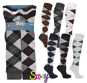 6 Pairs Mens Long Hose Cotton Rich Argyle Golfing Sport Knee High Socks
