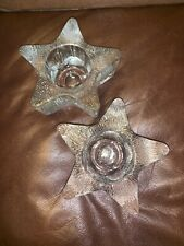 Textured Clear Glass Candle Holders Avon 5 Point Star Lot of 2