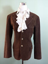 Womens Vtg 70s Corduroy Tailored Brown Patch Sleeve Blazer Jacket sz 12 M K87