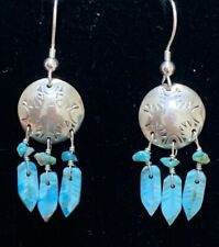 Navajo Sterling Silver Turquoise Feather Shield Earrings-