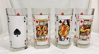 Vintage Playing Cards Poker Tumblers  Highball Glasses Made In Italy Set of 4