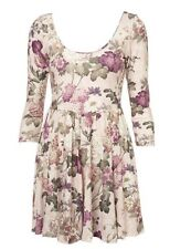 Topshop Purple Wild Floral Daisy Rose Vtg Scoop Back Skater Tea Dress 6 2 34 XS