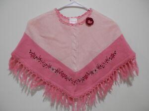 Nannette Girl Pink and Cream Crochet/Knit Shawl Girls Size 5