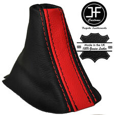 BLACK & RED STRIPE LEATHER AUTO AUTOMATIC DSG GEAR GAITER FITS VW CADDY 11-15