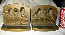 Antique Dachshund Dog Bronze Pipe Holder Desk Art Tray Statue Sculpture Bookends