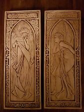 2 Art Deco Mucha Art Nouveau lady plaster wall decor hanging plaques handmade