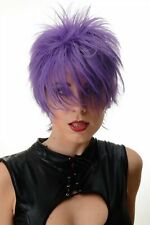 Women's Wig short Backcombed Wild Strands 80er Wave Punk Purple BLUE144