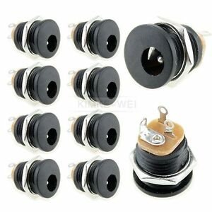 10x DC Power Panel Mount Female Socket Connector Jack Plug 5.5x2.1mm
