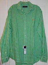 New $125 Ralph Lauren Green Plaid Check Orange Polo Pony Linen Shirt~L~SALE!