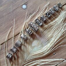 12 x Silver Tone Beard Rings Viking Celtic 4-8mm Hole Mix Dreadlock Dread Beads