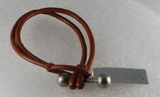 GUESS DESIGNER TAN LEATHER TRIBAL BARBELL TOGGLE CLASP BRACELET JEWELRY NWT