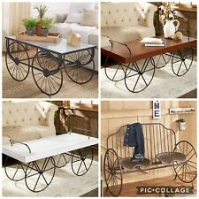 Galvanized Metal Wagon Wheels Coffee Table Furniture Metal Tractor Seats Bench