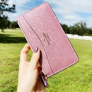 Kate Spade Lola Glitter Large Slim Card Holder Wallet Rose Pink Organizer Joeley