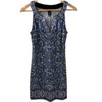 White House Black Market Womens Sleeveless Dress Shift Printed Stretch Size XS