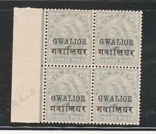 INDIA GWALIOR QV. 1904, 3P GREY SG39 ERROR (SMALL G) IN MNH BLOCK OF 4 STAMPS.