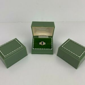 Vintage 1960s (3) Art Deco Green Double Ring Engagement Jewelry Display Box JB70