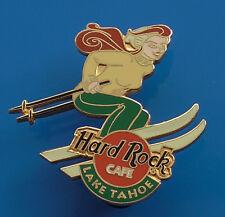 Hard Rock Cafe Metal Pin Badge Lake Tahoe Sierra Nevada USA Lady Skiing Ski Skis