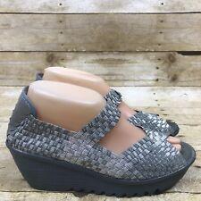 Bernie Mev Shoe Silver Women's Casual Woven Open Toe Wedge Size 39 US 8.5