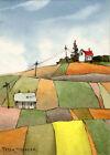 "Quilted fields ACEO 2.5""x3.5"" Original Watercolor Peter Sheeler barn autumn farm"