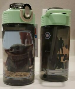 Lot 2 Mandalorian The Child 16oz Water Bottle Zak Star Wars Baby Yoda