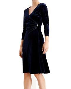 Connected Apparel Womens Sheath Dress Indigo Blue Size 14 Velvet Brooch $79- 301