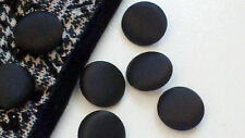 1 Inch Solid Black Fabric Buttons, 25 mm DIY Supply. One Dozen. Metal Back