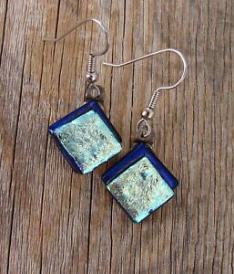 Blue Dichroic Glass Dangle Earrings