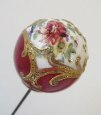 Antique Hatpin Large Hand-Painted Porcelain Ball Floral Heart