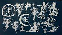 MONSTROUS LOT OF SILVER GLITTER FAIRY/ FAIRIES SILHOUETTE DIE CUT/ CUTS -LOT #1