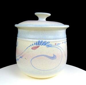 """JACK WESTLIN SIGNED NORTHWEST ART POTTERY BLUE FLORAL 8 1/4"""" COOKIE CANISTER"""