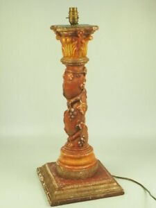 Antique Twisted Corinthian Column In Carved Wood Vine Branches - Great Patina