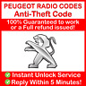 PEUGEOT RADIO CODE Bipper Boxer Expert Partner Rifter TePee Traveller 407
