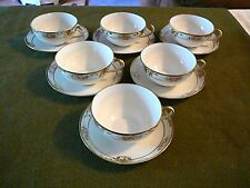 HANDPAINTED Nippon 6 GOLD ENAMELED Pink Flower Cup Saucer Sets Raised Gold