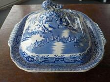 Antique Blue & White Willow Pattern Small Tureen With Lid