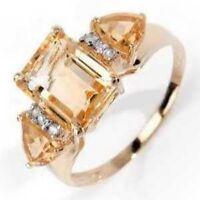 bague or citrines  et diamants