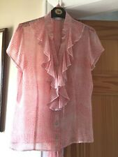 Ladies pink spot animal print blouse with frill V-neck - Size 10 - Excellent